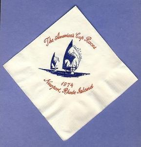 1974 America's Cup Yacht Races Cocktail Napkin, Newport, ...