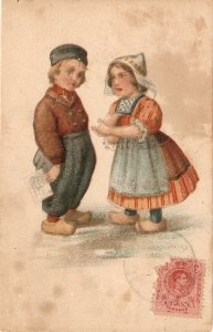 Duth couple  Old vintage antique Postcard