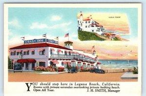 LAGUNA BEACH, CA~COAST INN  Pacific Ocean c1930s Cars Roadside Postcard/Blotter