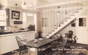 Wolf Creek OR~Tavern Hotel Lobby~Open Staircase~Key Slots~Kool Cigs RPPC c1940