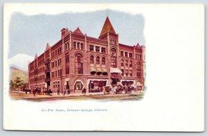 Colorado Springs CO~Alamo Hotel Vignette~Horse Buggies on Tejon Street~c1905
