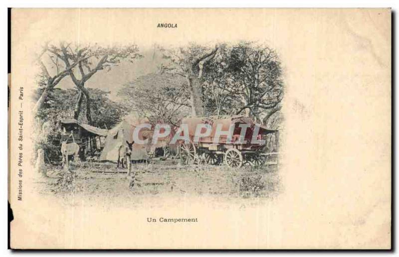 Angola Vintage Postcard a RARE camping (donkey donkey Africa