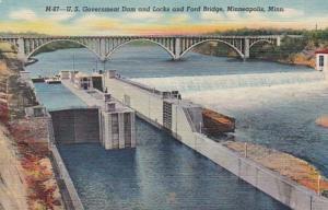 Minnesota Minneapolis U S Government Dam and Locks & Ford Bridge Curteich