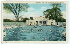 Swimming Pool Garfield Park Topeka Kansas 1920s postcard
