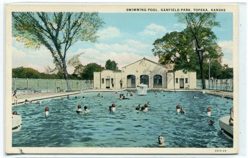 Swimming Pool Garfield Park Topeka Kansas 1920s Postcard Hippostcard