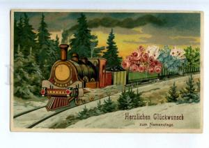 240553 GREETING Flowers TRAIN Vintage POST OVERPRINT postcard