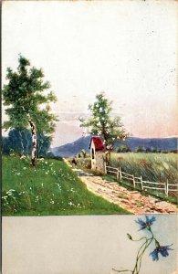 Farming Scene - Art Painting - POSTED - Vintage Postcard