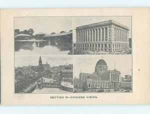 Divided-Back FOUR VIEWS ON ONE POSTCARD Chicago Illinois IL H6775