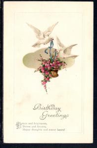 Birthday Greetings,Birds,Basket of Flowers