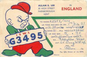 QSL Card ISWL G3495 Amatuer Ham Radio Elmer Fudd England pm 1957 Postcard
