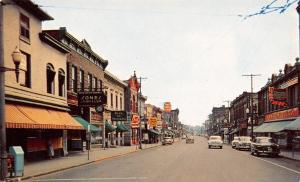 Cornwall Ontario~Pitt Street~FW Woolworth~Bank~Sones Jewelry~1950s Cars~Postcard