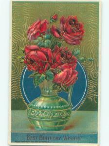 c1910 Beautiful Large RED ROSE FLOWERS IN ANTIQUE VASE AC5106