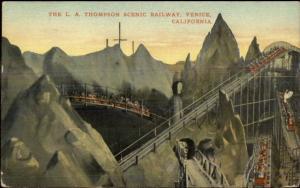 Venice CA LA Thompson Scenic Railway Roller Coasterc1910 Postcard