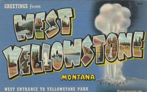 Large Letter WEST YELLOWSTONE Montana, 1930-40s