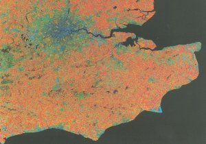 South East England From Space Map Aerial Astronomy Postcard