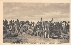 F81/ Needles California Postcard c1910 Mojave Indian Funeral Pyre Crowd