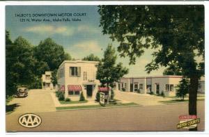 Talbot Down Town Motor Court Motel Idaho Falls ID linen postcard
