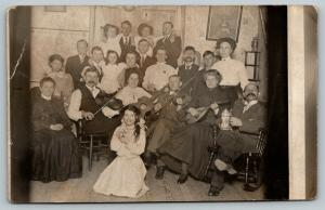 RPPC Music Nite~Men w/Violins~Gals w/Guitar, Mandolin-Unc Plays Beer Stein 1914