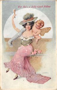 F Kratki Artist Signed Woman Cupid Angel Good Fellow Antique Postcard K24674