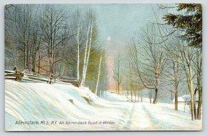Adirondack Mountains New York~Road in Winter~Split Rail Fence~Nice Scenic~c1910