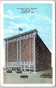 Cincinnati, Ohio Postcard HOTEL METROPOLE Street Scene Completed in 1925