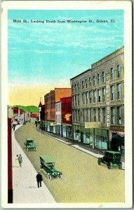 Galena, Illinois Postcard MAIN STREET North from Washington St. Downtown 1920s