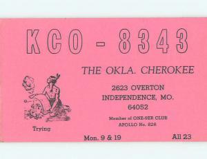 Native Indian - QSL CB HAM RADIO CARD Independence Missouri MO t9989