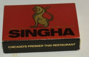 Singha Thai Restaurant Chicago Illinois Matchbox