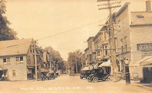 Wilton ME Main Street Storefronts Socony Gas Pump Old Cars RPPC
