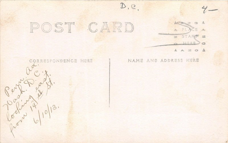 H78/ Washington D.C. RPPC Postcard c1910 Penn Avenue Trolley 14th St 173