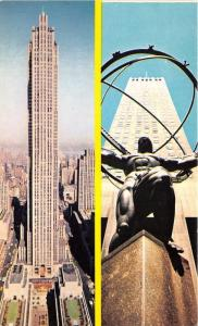 New York City~Rockefeller Center & Statue of Atlas Double View~1950s Postcard