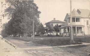 Fulton Michigan~Church Street~Residential Area~Unpaved Road~1912 RPPC Postcard