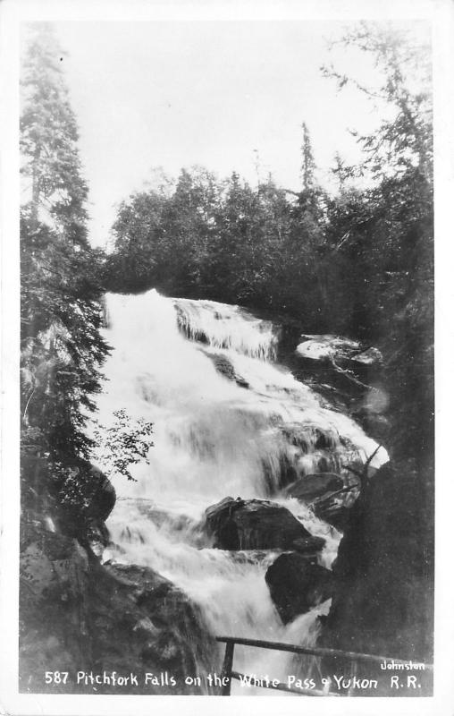 Skagway Alaska~Pitchfork Falls on White Pass & Yukon Railroad~1940s RPPC