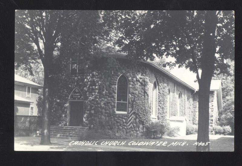 RPPC COLDWATER MICHIGAN CATHOLIC CHURCH VINTAGE REAL PHOTO POSTCARD