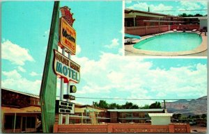 1960s Socorro, New Mexico Postcard GOLDEN MANOR MOTEL Route 60 / 85 Roadside