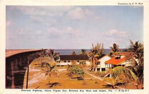 Miami-Key West Florida~Overseas Highway Above Pigeon Key~Houses on Right~1950s