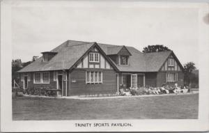 Trinity Sports Pavillion Unknown Location ?? People Sitting RPPC Postcard E15