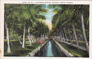 Florida Cocnut Grove Canal On W J Matheson Estate