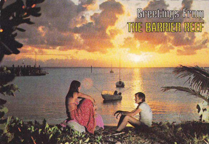Great Barrier Reef , Beach sunset view , Queensland , Australia , 50-70s
