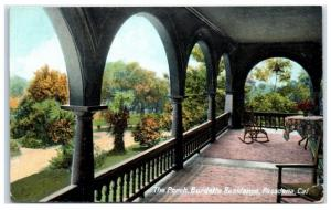 Early 1900s Burdette Residence Porch, Pasadena, CA Postcard