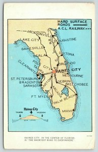 Haines City Florida~State Map~Haines City Shortest Road to Everywhere~1920s