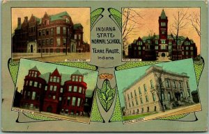 1910s Terre Haute, Indiana Postcard INDIANA STATE NORMAL SCHOOL Building Views
