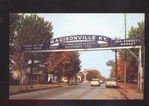 MADISONVILLE KENTUCKY DOWNTOWN WELCOME ARCH 1960's CARS VINTAGE POSTCARD