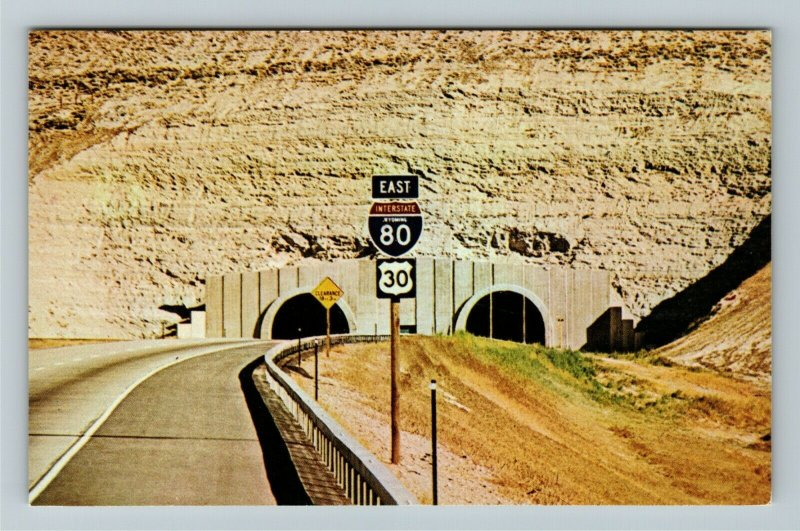 WY- Wyoming, Twin Tunnels, I-80 ,Sierra Nevada Mt., Chrome Postcard