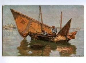143720 FISHING Fisherman Boat by RUNGE vintage Colorful PC