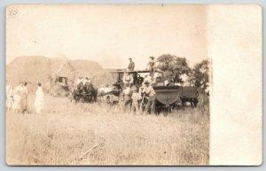 Bloomington IL CU Williams~Farm Family Haying~Threshing Machine~Ladies~1910 RPPC