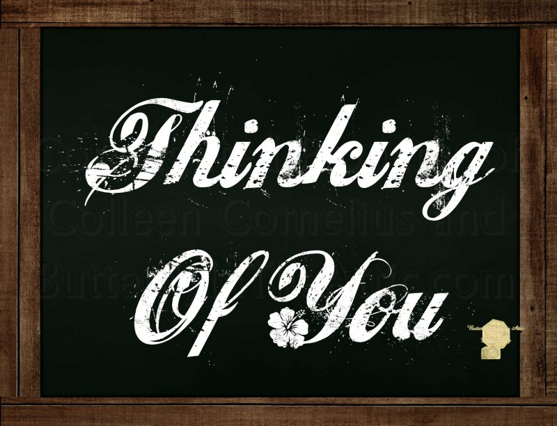 Set of 6  Postcards Blackboard Greetings - Thinking Of You - Simple Expression
