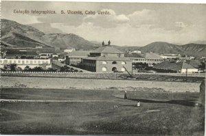 PC CPA CABO VERDE CAPE VERDE S. VICENTE TELEGRAPHICA Vintage Postcard (b26735)