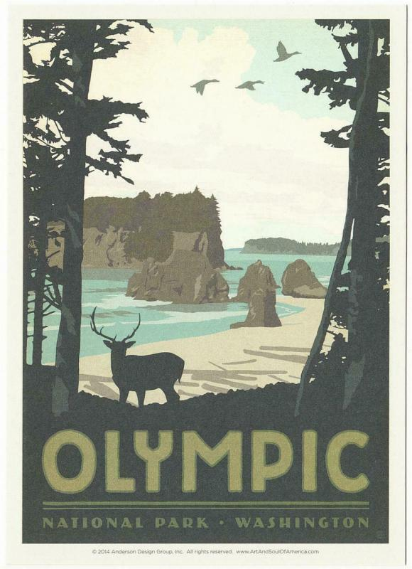 Postcard Of Olympic National Park Washington State Travel Poster Style Postcard Hippostcard
