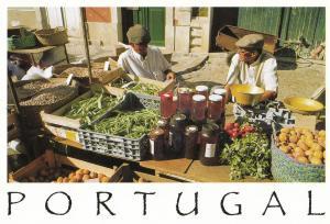 Portugal Jam Jar Seller Grocer Market Postcard